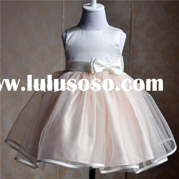 2015 peach color baby girls party wear dress for birthday baby frocks party wear formal evening dres