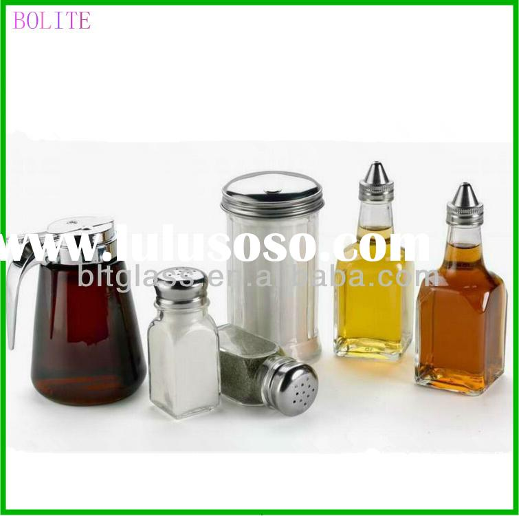 CUSTOM GLASS SALT AND PEPPER SHAKER BOTTLE FOR KITCHEN