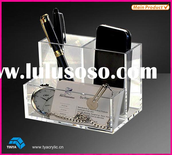 China Factory Suppliers 3 Compartments Clear Acrylic Desk Accessories Storage Box Plastic Office Org