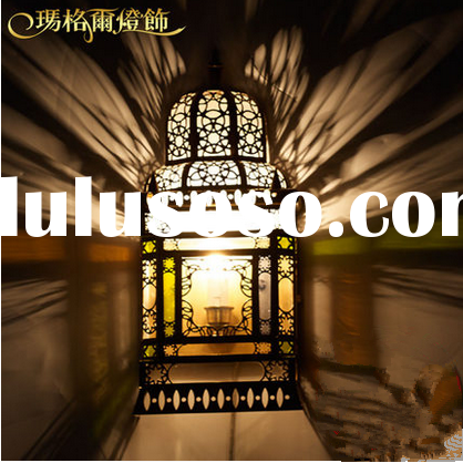 Moroccan antique stained glass brass wall lamp