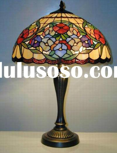 tiffany style antique stained glass lamp shades for glass table lamp