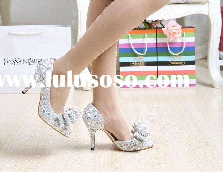 2014 new silver high-heeled wedding shoes diamond bow pointed crystal wedding shoes bridal high heel
