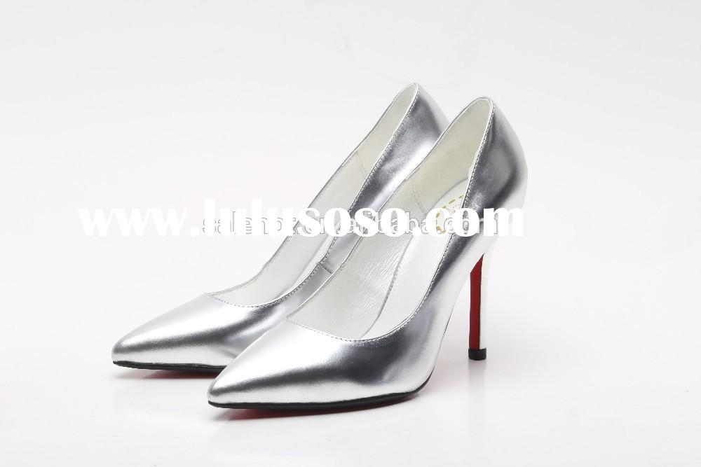 2015 fashion Pointed Toe woman High Heels pumps woman genuine leather silver wedding shoes dress sho
