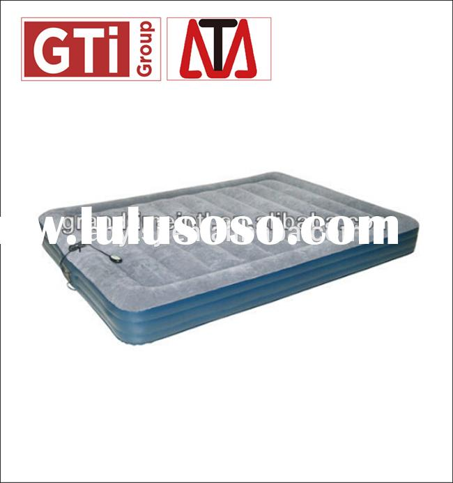 Double size flocked air mattress with pump