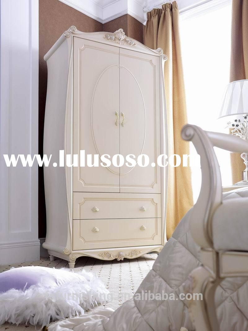 JLB 017 luxury antique elegant french ivory white solid wood 2door with drawers wardrobe armoire clo