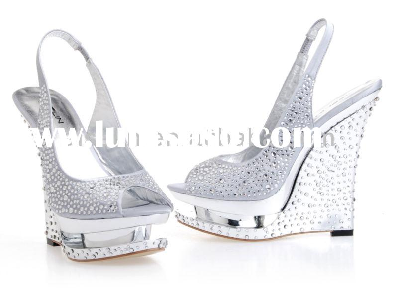 One pair Sample availble High wedges Large size women gold and silver slingback shoes silver high he