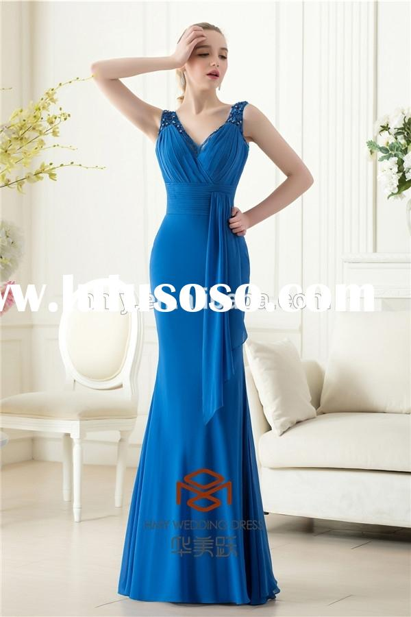 2014 Latest Real Sample Stunning Beaded Royal Blue Prom Dress HMY-D422 OEM Service Supply Type and P