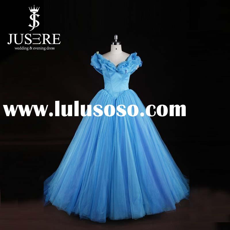 2015 vestidos de novia robe de mariage Cinderalla Blue Sleeves Flowers Crystals Princess Wedding Dre