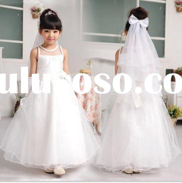 2015 SUMMER SLEEVELESS LONG MESH EVENING/WEDDING DRESS FOR KIDS GIRLS