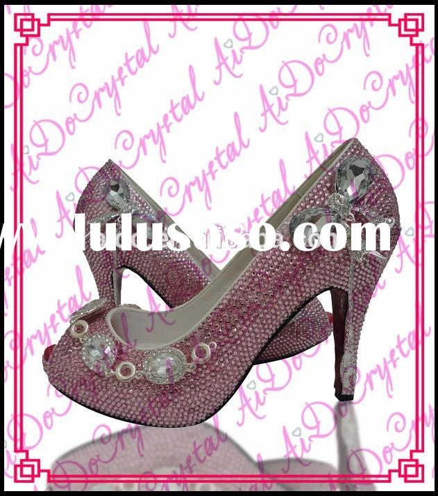Aidocrystal handmade hot Pink crystal with big diamond wedding shoes closed toe rhinestone high heel