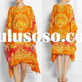 China manufactures embroidered linen blend loose kaftan dress (NTF04066)