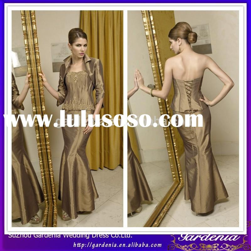 Detachable Taffeta Jacket Mermaid Gown Strapless Applique Lace Back Floor Length 3 Pieces Gold Mothe