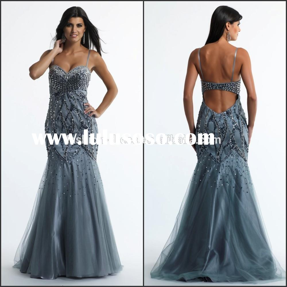 Hot Sale Elegant and Beautiful Big Size Prom Dress with Beading and Spaghetti Strap High Quality Swe