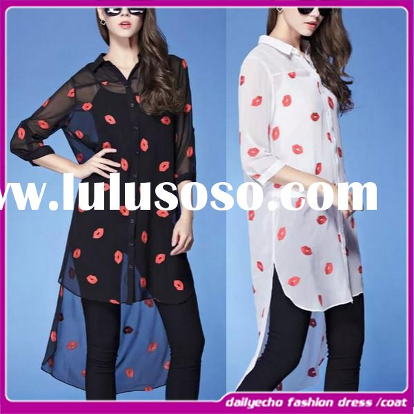 Long sleeve shirt red lips printing plus size summer chiffon maxi ladies tops and blouses 2015
