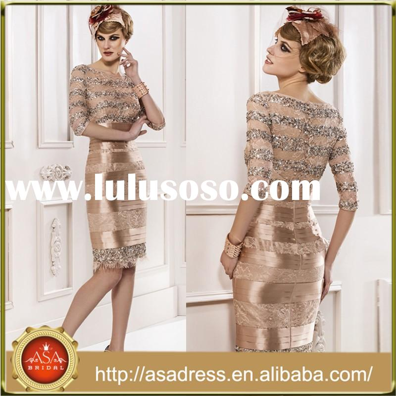 MFD 017 Top Design Gold Hand Beaded Party Dress Knee-Length Three Quarter Sleeve Mother of the Bride