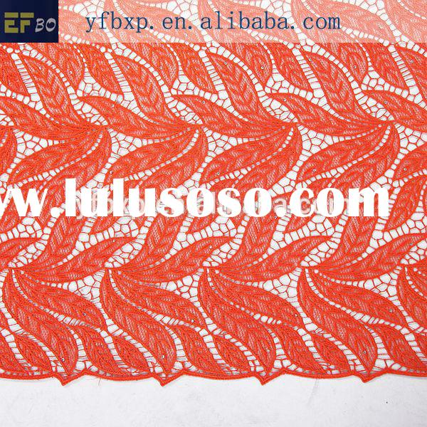 New york wholesale fabric lace 100%polyester chemical orange african cord lace fabrics with stones 2