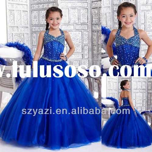 Royal blue Rhinestone Crystal Tulle Ball Gown Glitz Kids Party Communion Pageant Flower Girl Dresses