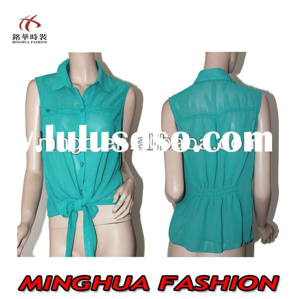 Solid color Chiffon casual women blouse and shirts 2014 Summer