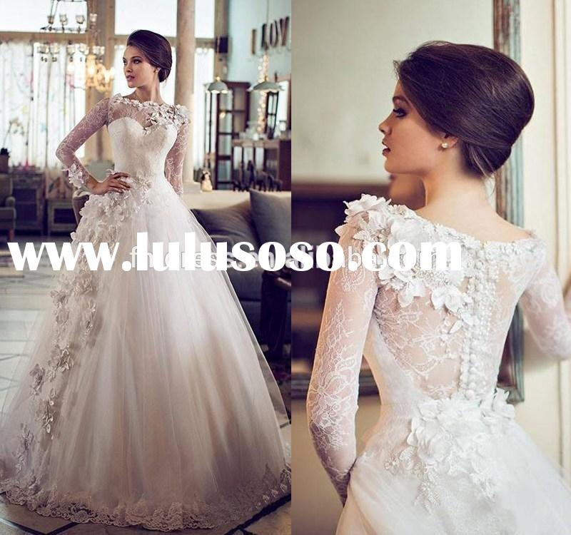 Custom Vintage A Line Wedding Dresses Sheer Bateau Neckline Lace Flowers Princess Long Sleeve Weddin