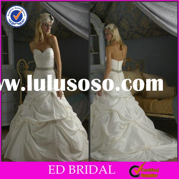EDW237 Princess Sweetheart Neckline Puffy Crystal Embellished Latest Sash Wedding Gown Designs