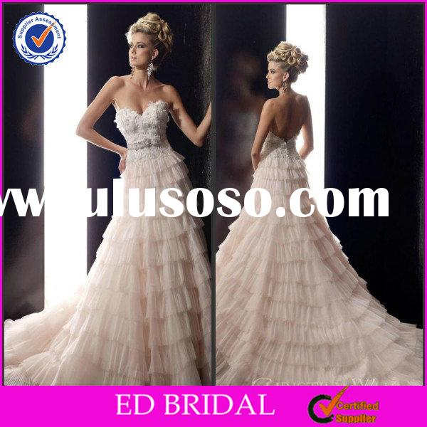 EDW238 Princess Style Shinning Beaded Tiered Empire Waist Wedding Gowns for Sale