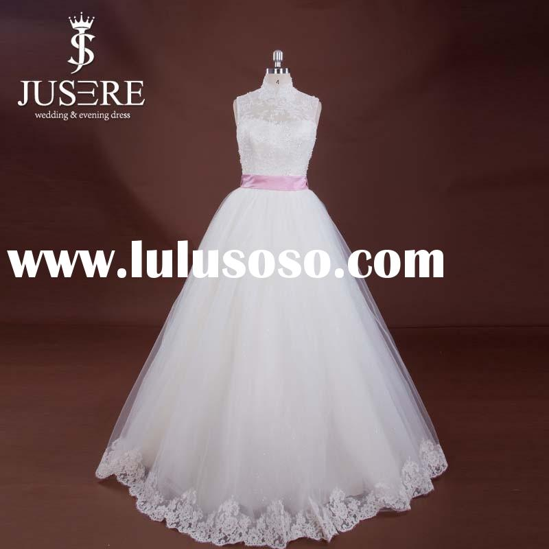 High Neck Puffy Princess Ball Gown Wedding Dress For Sale