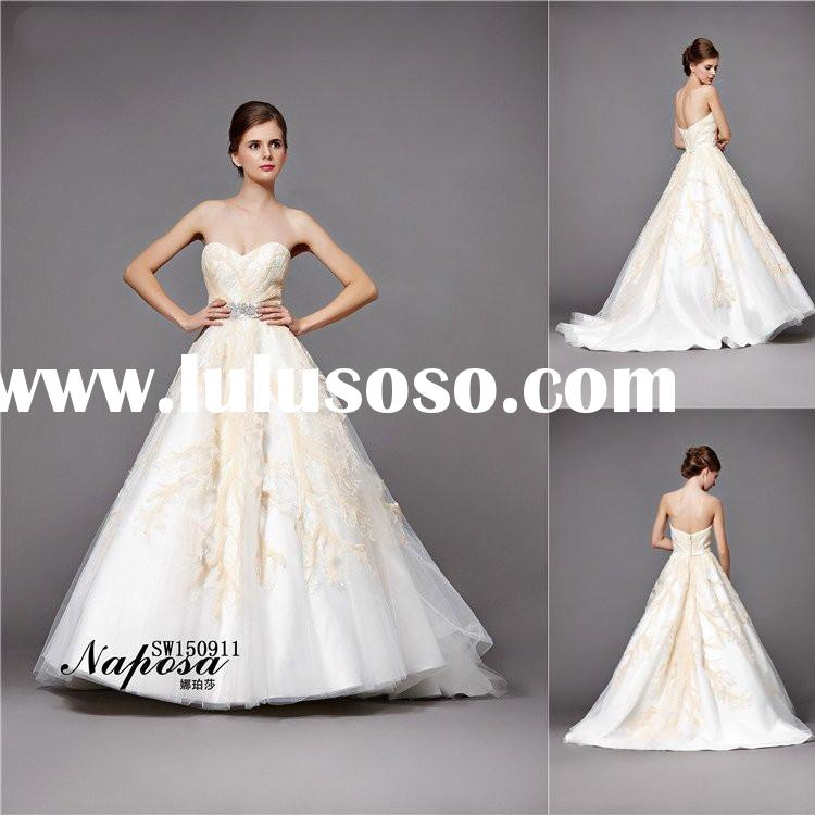 Union fashion princess ball gown style yellow Sequin white organza wedding gowns 2015 sweetheart wai