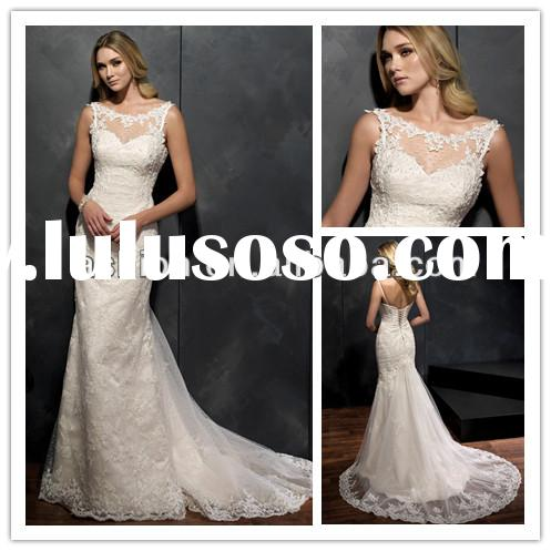 WE-2442 New mermaid wedding gown lace fitted wedding gowns long trains princess wedding gowns