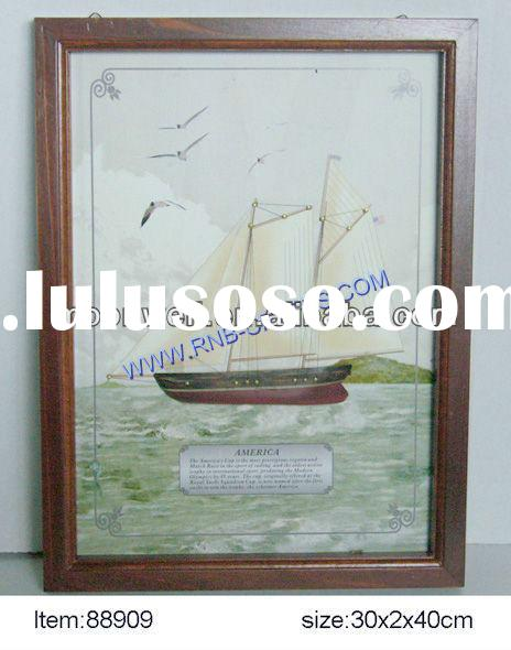 """""""AMERICA 1851"""" Wooden 3D Shadow key box,Nautical key cabinet with boat painting,Gifts,Souv"""