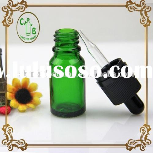 green e liquid bottle 10ml with assembled glass pipette