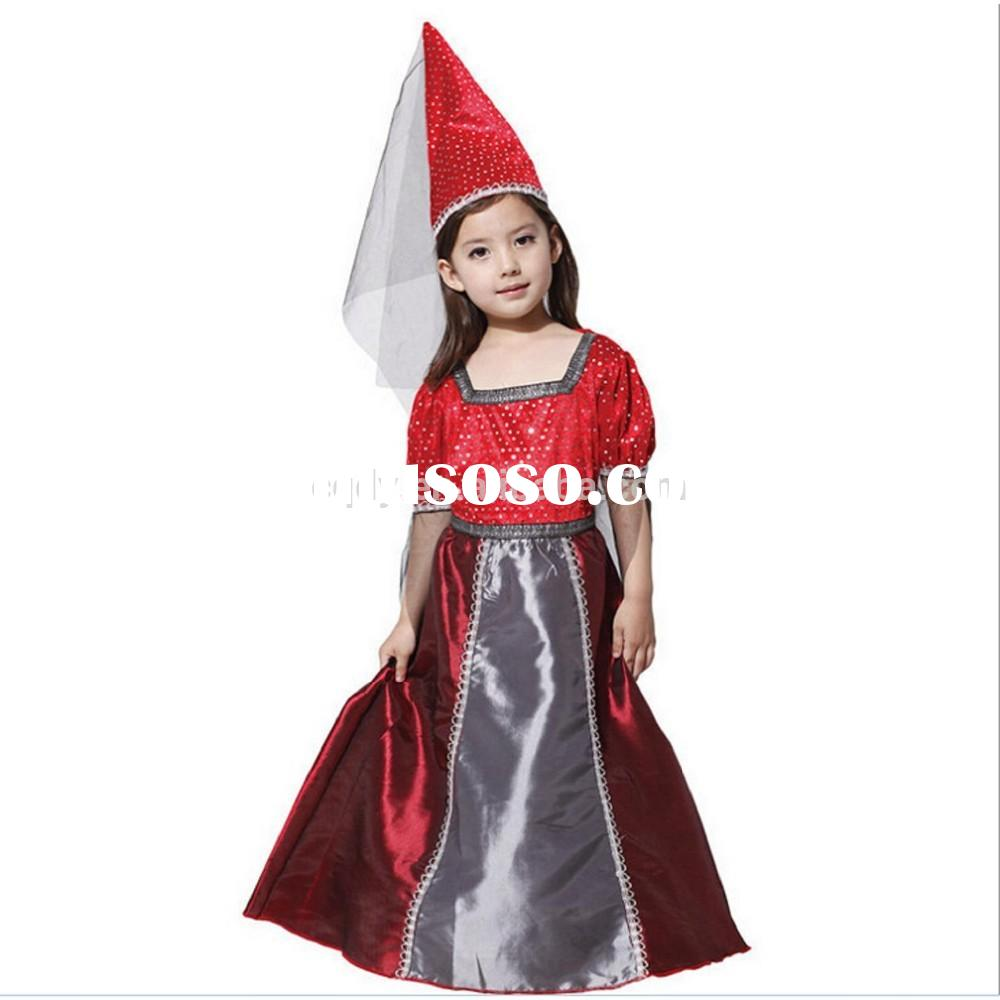 2015 Halloween girls witch costume dress with hat, wholesale fancy swatch party dress for girls