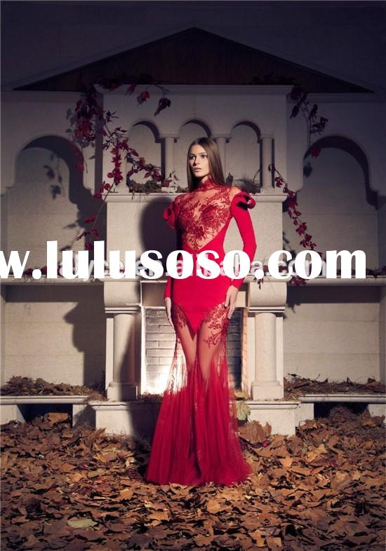 2015 Modern Latest Design Formal High Neck Long Sleeve Lace Applique Transparent Red Mermaid Evening