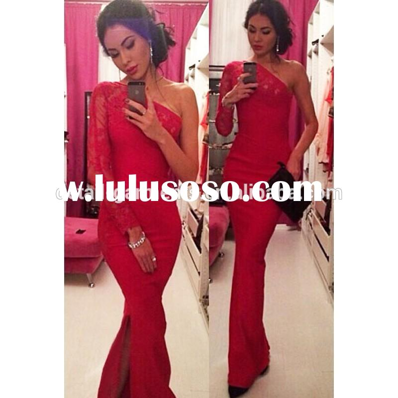 2015 Women Red Floral Lace Trimmed Single Long Sleeve Maxi Dress Gown