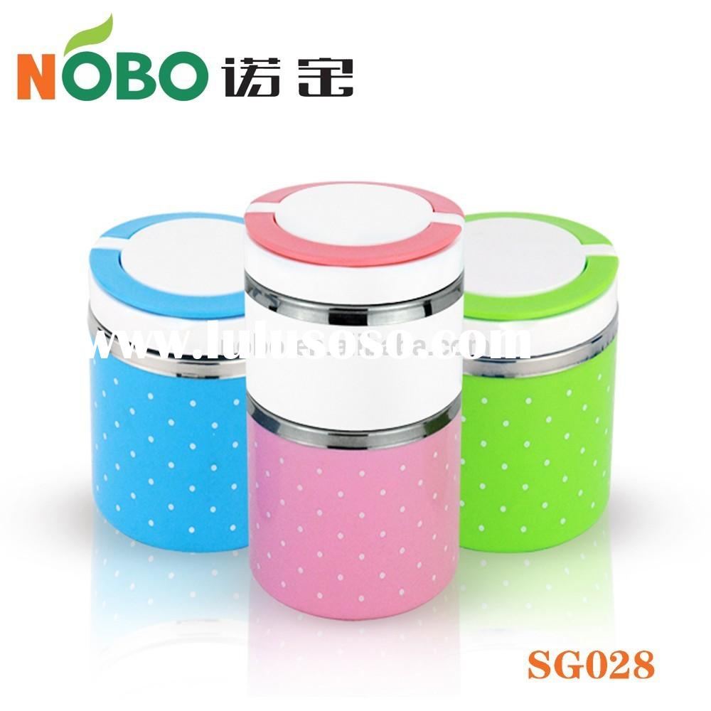 Beauty Kroea Style Portable Inner Stainless Steel Outer PP Insulated Food Warmer Container with 3 La