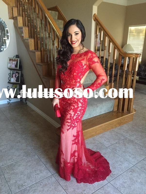 Free Shipping Vintage Vestido de Festa 2015 Red Lace Long Sleeve Applique Mermaid Evening Prom Dress