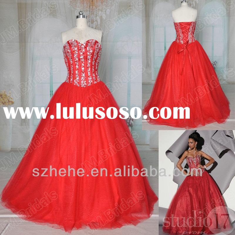 Free Shipping JM.Bridals Real Sample CQ060 Charming heavy beaded bodice long red ball gown prom dres