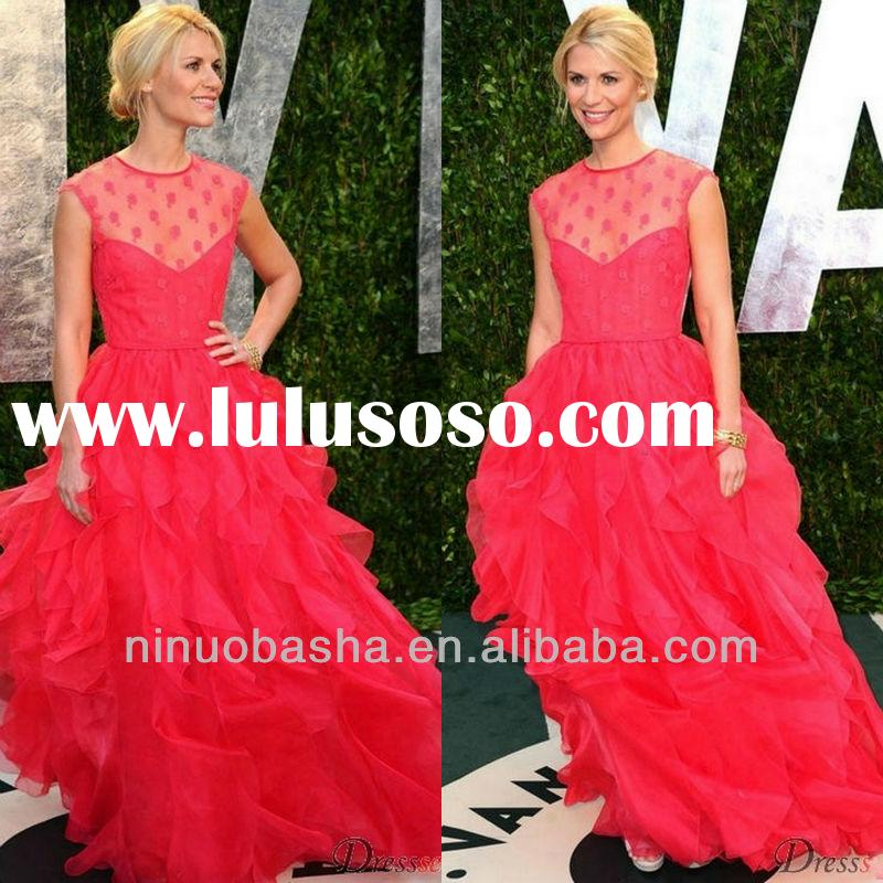 Fuchsia Lace Jewel Sleeveless Ball Gown Ruffle Sweep Train Red Carpet Celebrity Dresses Evening Gown