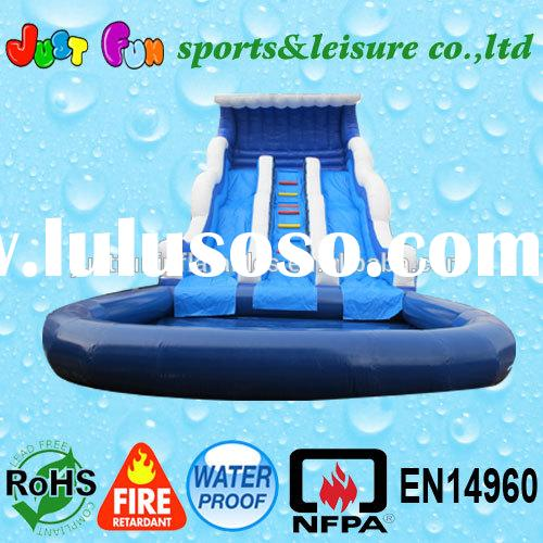 Hot design! blue inflatable bounce water slide with pool