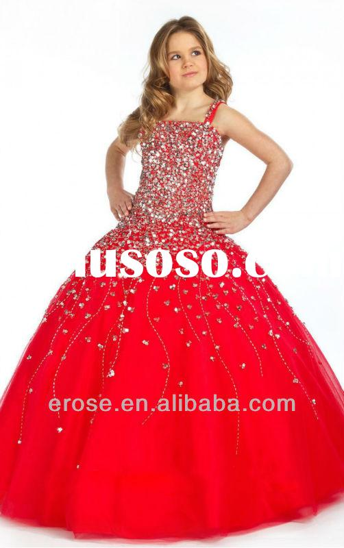 Long Top Heavy Beads Ball Gown Beaded Red Colored Flower Girl Dress 1160