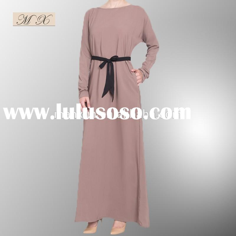 New Arrival Simple traditional design ,Contrast belted Muslim Clothing for women