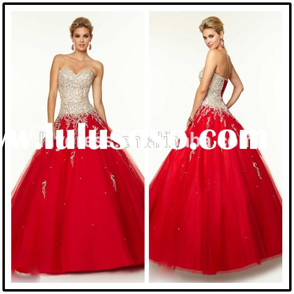 Red Princess Crystal Beaded Custom Made Floor Length Design Long Party Ball Gown QD048 Quinceanera f