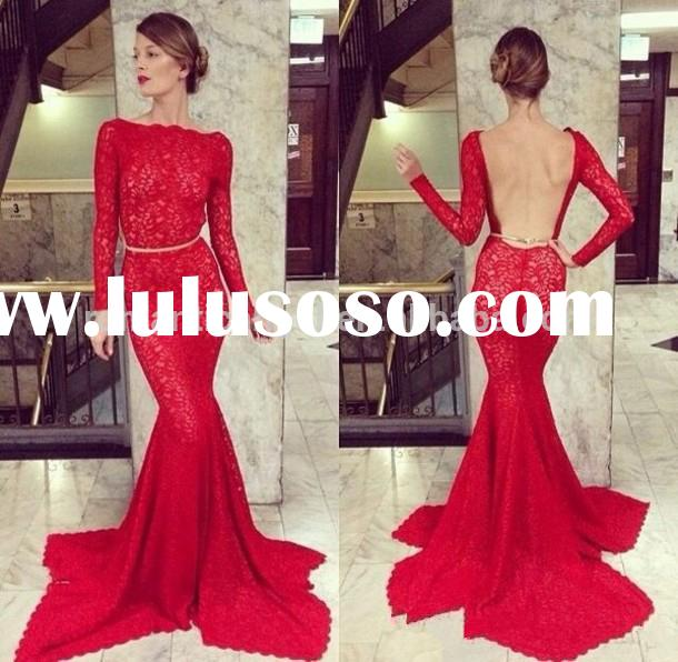 Red lace long sleeves high neck backless evening gown