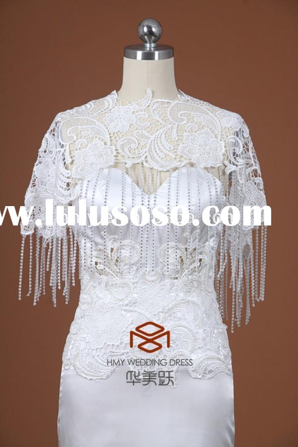 Custom Made French Lace Elegant Bridal Cape Draped Sequin Scoop Neck HMY-JT004 Shawl