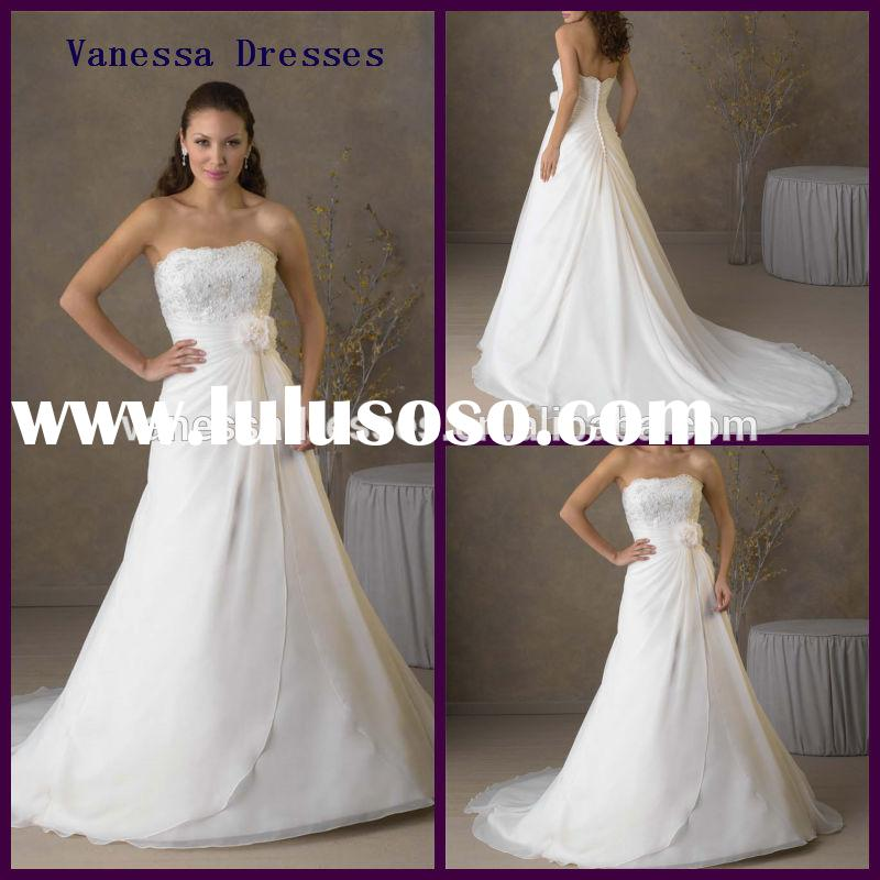 Fashion Strapless Flower White ivory A-line Sweep Irish Lace Wedding Dresses
