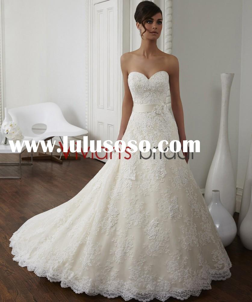 Grace Sweetheart Neckline Sweep train Irish Lace Wedding Dresses BD100