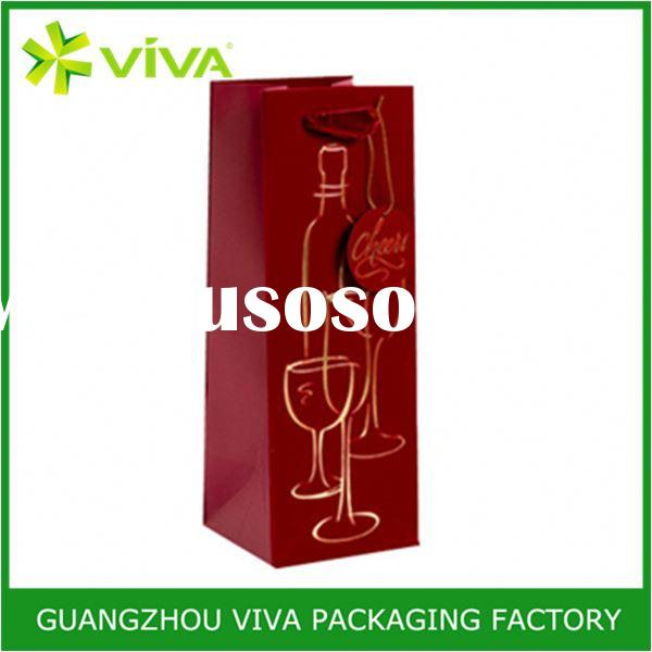 High quality wholesale paper christmas wine bottle bags