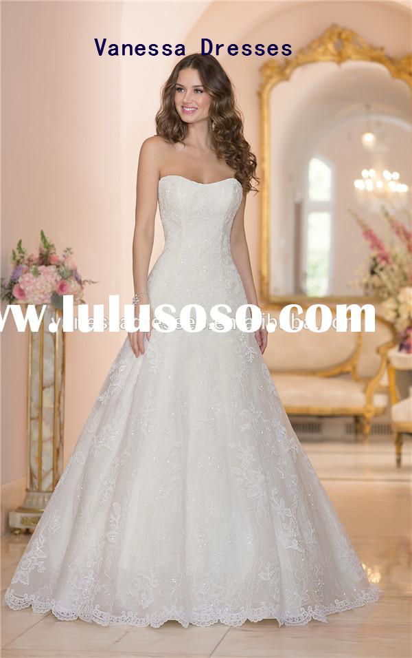 Simple But Elegant Strapless A-line Floor Length Lustre Beaded Irish Lace Wedding Dress