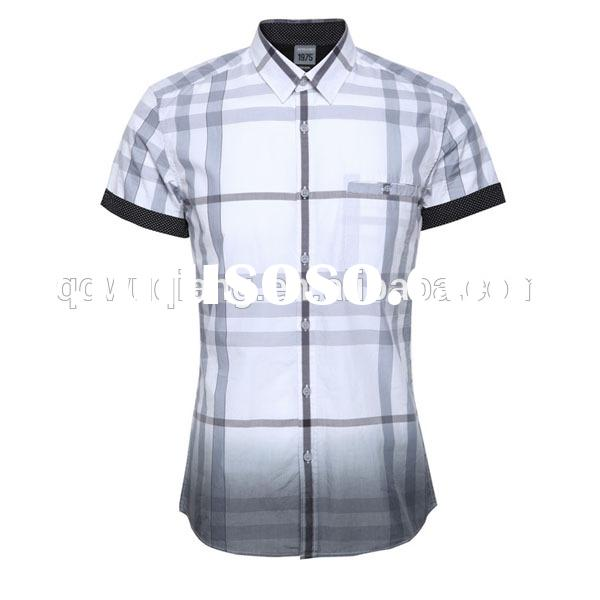 2015 new style combed cotton latest custom fashion men casual shirts plaid shirt
