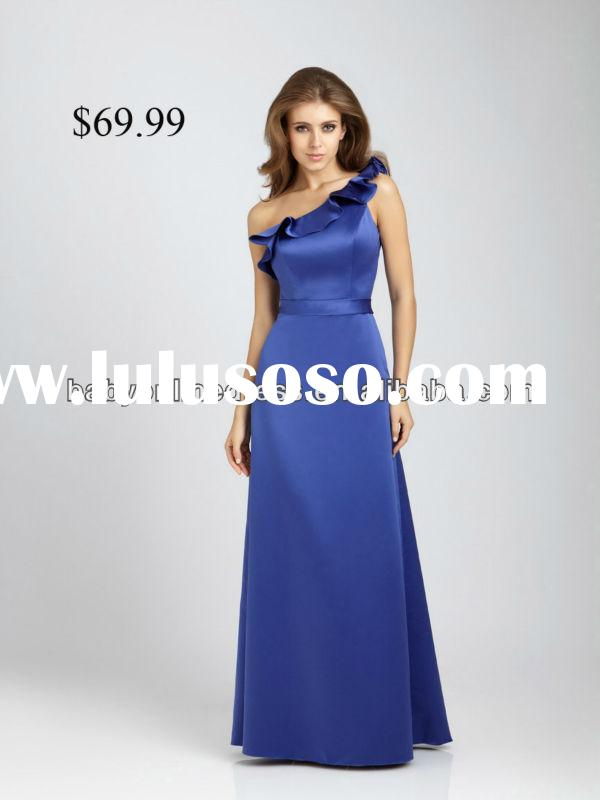 Attractive One-shoulder Royal Blue Long length Bridesmaids dresses Padded Cheap Free shipping