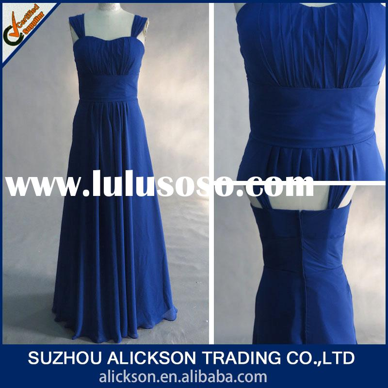 Classic Sweetheart Chiffon A line Floor Length Cheap Royal Blue Bridesmaid Dress